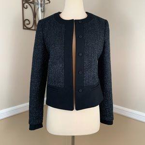 Ann Taylor Wool Blend Metallic Tweed Blazer Jacket